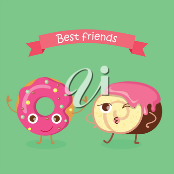 Best Friends. Doughnut with pink sprinkles. Sweets. Simple cartoon design. Colourful small balls. Chocolate swiss roll with pink topping. Rosy cream flowing on round bun. Cartoon style. Vector