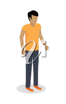 Man character template in casual clothes. Male without face in yellow t-shirt vector illustration isolated on white background. User avatar. For human concepts, app icon, logo, infographic design