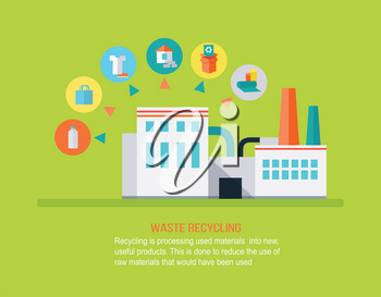 Garbage recycling concept. Processing plant waste. Waste recycling concept. Recycling process different types of waste. Garbage destroying. Environment protection. Website design template.
