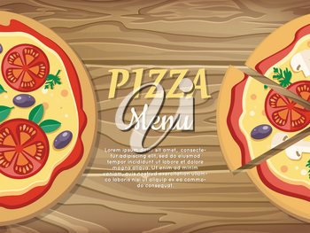 Pizza menu web banner. Pizza with tomatoes, olives, mushrooms and herbs in flat style isolated. Italian pizza with vegetables. For pizzeria, restaurant ad, logo design, delivery service. Vector