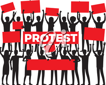 Protest by group of protester silhouette on white. Vector illustration of people in black colour holding red posters and raising their hands. People disagreement and disapproval expressed in protest
