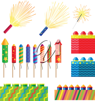 Collection of fireworks. New Year decorations. Illustration of different pyrotechnics in shape, size and colour. Attributes of New Year 2017. Bright explosions. Cartoon style. Flat design. Vector