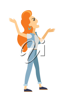 Nagger woman icon. Read-head girl screaming with raised hands flat vector illustration isolated on white background. Anger cartoon woman character. Negative emotions, conflict and quarrel concept