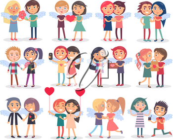 Couples on Valentine s Day on white background. Vector illustration of holiday celebration with giving presents to second half or spending time together. Various variants how celebrate boy and girl