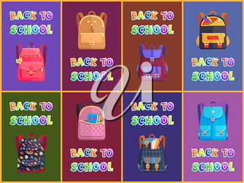 Back to school goods promotion poster with school stuff for shop or store advertising. Poster set with vector schoolbags, satchels and rucksacks.