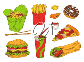 Different fast snacks set vector illustration isolated drawings of donut pizza burrito soft drink, french fries and noodle, single chip and chicken