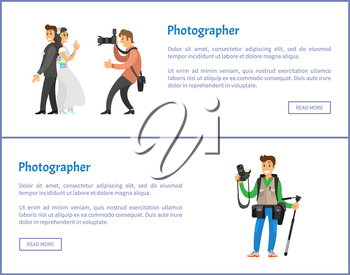 Wedding photographer and photojournalist with equipment web banners. Photo of bride next to groom, professional photo reporter vector illustrations.