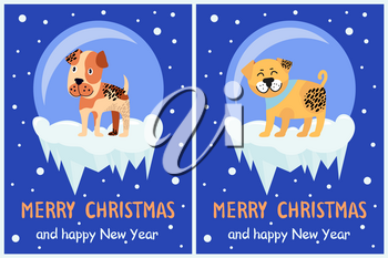 Merry Christmas and Happy New Year festive posters with dogs in glass bubbles with bottom covered with ice cartoon vector illustrations greeting cards