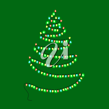Christmas abstract tree made of garlands with glittering lamps lights vector illustration isolated on green background, decorative New Year element
