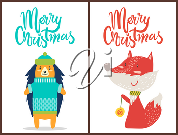 Merry Christmas, banners with hedgehog wearing green hat and blue knitted sweater and fox with scarf playing game and smiling on vector illustration
