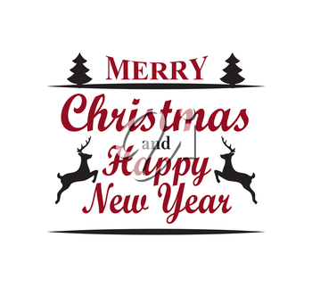 Merry Christmas and happy New Year, greeting poster with headline placed in centerpiece, lines and icons of trees and reindeers vector illustration