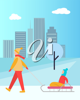 Father carrying child on sledge vector isolated on background of skyscrapers. Winter activities of dad with girl or boy sitting in sleigh in city park