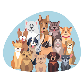 Concept of purebred dogs. Vector illustration of Bernese Mountain and Central Asian hounds, French and English Bulldog, Chihuahua and boxer, Jack Russell and Bull Terrier, puppy of Argentinian Dog.