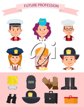 Future mariner, girl in stewardess cap, goinr to be chef, girl in police uniform, pupil builder and boy firefighter with attributes vector illustrations.