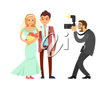 Happy married couple and wedding photographer vector isolated. Bride in long dress and bouquet of flowers and groom in brown suit with bow, cameraman