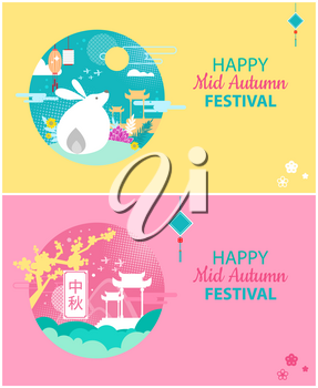 Happy mid autumn festival posters set with greeting. Lanterns and bunny full moon and flying birds. Traditional Chinese buildings architecture vector
