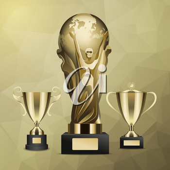 Gold trophy with man holding earth in hands and cups with and without cover on abstract background.Prize for successful business project vector illustration. Honorable award for great achievements