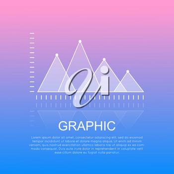 Graphic diagram with crossing high and low triangular marks showing statistic. Financial analysis report with charts and text under white inscription vector illustration on smooth pink-blue background