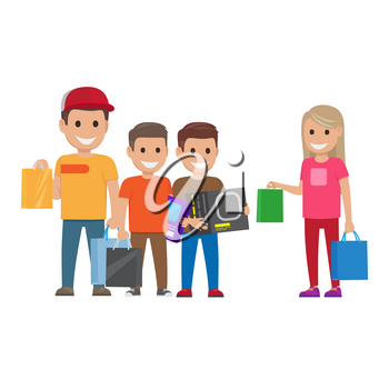 Family out on shopping elder sister and elder brother with bags and two little brothers with boxes and bag on white background. Cartoon children has fun during shopping vector illustration.