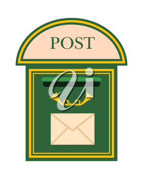 Traditional wall mounted metal mailbox with horns and envelope flat vector illustration. Vintage green mail house for letters isolated on white background. Classic postal box for correspondence