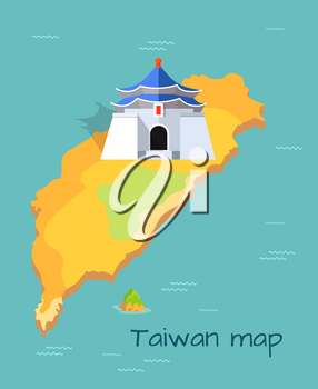 Majestic Chiang Kai-shek Memorial building on Taiwan map. Vector illustration of island coast is washed by East China Sea in north, South China Sea, Philippine Sea in south and Pacific Ocean in east.