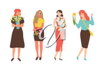 Females with flowers isolated cartoon characters. Vector women celebration international holiday for girls, 8 March concept. People with bouquets