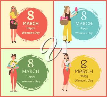 Happy womens day 8 march greeting cards with girls and flower bouquets. Vector female people with blossoms and round painted dot, ladies cartoon style