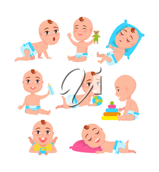 Babys activities collection, child in good mood playing with toys and soother, kid with teddy bear, plastic bottle and balloon, vector illustration