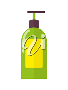Big plastic bottle of aromatic liquid soap with convenient dispenser and yellow lable isolated cartoon flat vector illustration on white background.