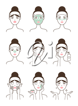 Face skin care procedure all stages on female model with natural mask and fresh sprays isolated cartoon flat vector illustrations on white background.