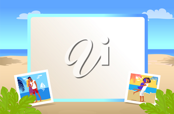 Square photo frame with beautiful sandy beach and small pictures of couples in love together on vacation cartoon vector illustration.