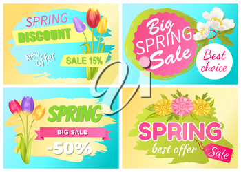Best offer spring big sale advertisement daisy flowers, bouquet of tulips and fresh anemone vector illustration promo sticker with springtime blossoms