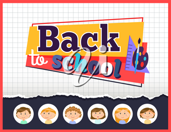 Back to school vector, flat style. Education and knowledge acquiring, elementary classes. Pupils with paints palette, brush and ruler for mathematics. School kids back to learning in class