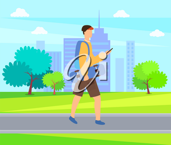 Skateboarder going outdoors, urban skater vector. Man holding skateboard, side view of boy using phone, person wearing casual clothes, summertime