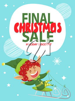 Final christmas sale and holiday discount in shops and stores. Fairy character actively spend time riding sleigh. Christmas elf and designed caption on advertising poster. Vector illustration of promotion in flat style