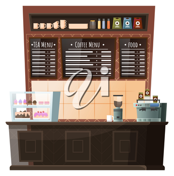 Coffeehouse homelike interior, workplace of barista. Furniture for cafe like stance with coffee machine and pastry stand. Menu board with positions of food and beverages. Vector illustration in flat