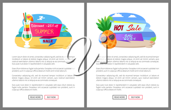 Summer sale for customers vector, website with text. Cocktail poured in glass, pineapple wearing sunglasses, coast beach and island in distance set