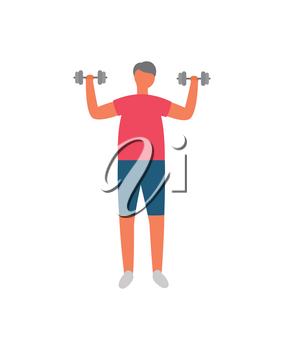 Morning exercise and sport, man with dumbbells vector. Weight lifting, fitness training, sporting equipment and healthy lifestyle, isolated male character