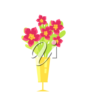 Beautiful flowers with pink petal and yellow center in shining golden vase. Vector illustration with bouquet icon isolated on white background