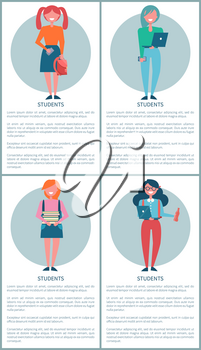 Student girls set of posters with schoolgirls in cartoon style, piles of books, cute handbags, notebook and cola in hands vector illustrations with text