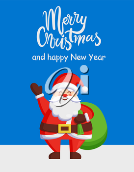 Merry Christmas and Happy New Year poster Santa Claus and bag with gifts isolated on snowy background. Vector St. Nicholas holding huge green sack