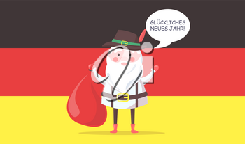 German Santa Claus in traditional clothes with big bag wishes happy new year in native language with national flag on background vector illustration.