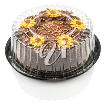 cake with chocolate cream and decorated with yellow flowers isolated on a white background with clipping path