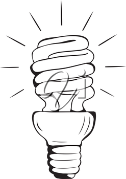 Energy Saving Hand-drawn Light-Bulb shining black and white - light is on