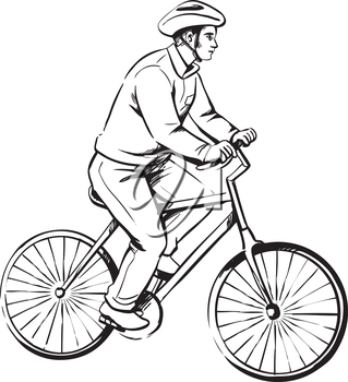 Male cyclist or deliveryman on a bicycle riding along wearing a safety helmet, side view, black and white line sketch