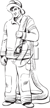 Fireman in his uniform carrying a fire hose over his shoulder as he moves into position to fight a fire, black and white hand-drawn vector illustration