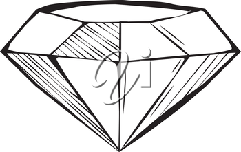 Faceted diamond or gemstone with shaded facets for a dimensional effect, black and white hand-drawn doodle illustration