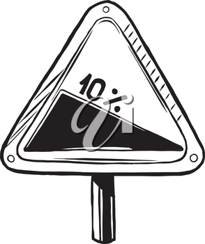 Triangular traffic sign warning of a steep gradient, slope or hill on the road ahead, hand-drawn vector illustration