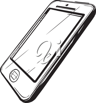 Modern smartphone pictured at an oblique angle from the side with a blank screen, black and white hand-drawn vector illustration