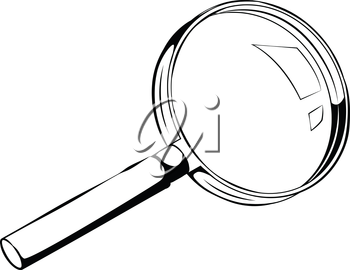 Black and white side view illustration of a magnifying glass, with copy space, isolated on white background